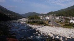 Momosuke Bridge in Nagiso, Japan Stock Footage