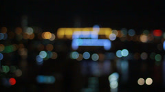 Metropolis.Beautiful bokeh. Night city in refocuse Stock Footage