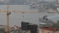 Stock Video Footage of Ship in port costs . Vladivostok