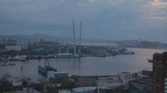 Bridge of the Golden Horn, Vladivostok Stock Footage