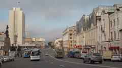 Metropolis. In big city heavy traffic. the streets Vladivostok Stock Footage