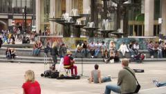 Fountain of Friendship between Peoples, Alexanderplatz, Berlin. Street music. Stock Footage