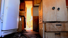 Time Lapse Dolly of Abandon Motor Home in the Desert Stock Footage