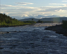 Midsummernight at Lule river near Jokkmokk Stock Footage