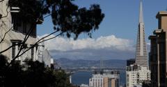 Ultra HD 4K San Francisco Skyline Treasure Island Oakland Bay Bridge American US Stock Footage