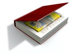 Concealed australian dollar bank notes in a book front Stock Illustration
