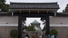 Osaka Castle Gate Stock Footage