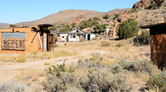 Abandon Mining Camp in the Mojave Desert Stock Footage