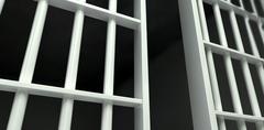 White bar jail cell perspective unlocked Stock Illustration