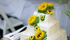 Sunflowers on a Cake Stock Footage