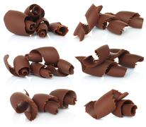 Chocolate shavings set. Stock Photos