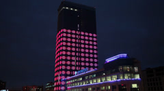 """Night illumination """"equalizer"""" business center on the Constitution Square Stock Footage"""