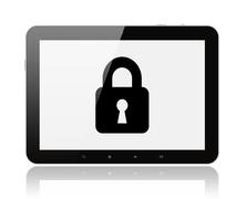 tablet pc with lock . - stock illustration