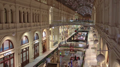Interiors of galleries and passages of GUM - State Department Store in Moscow - stock footage