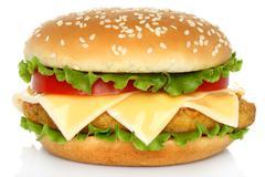 Big chicken hamburger . Stock Photos