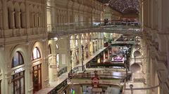 Interiors of galleries and passages of GUM, Moscow - stock footage