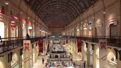 Second floor of GUM - State Department Store on Red Square, Moscow Stock Footage