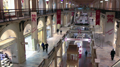 The GUM large store in center of Moscow city. Shop interiors and levels. Russia Stock Footage