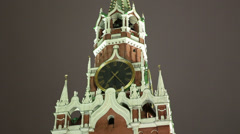 Kremlin chimes on Spasskaya tower on Red Square, Moscow Stock Footage