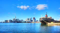 Sunny timelapse of the Toronto Harbour Stock Footage