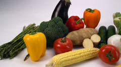 Colorful Vegetable Medely Stock Footage