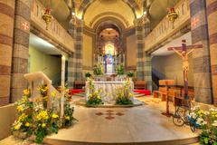 catholic church interior view. alba, italy. - stock photo