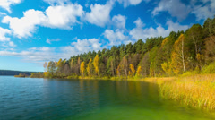 Autumn forest and lake, timelapse panorama Stock Footage