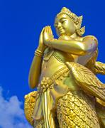 mythical female bird with a human head in bangkok thailand - stock photo