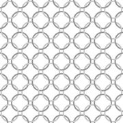 gray and white interlaced circles textured fabric background - stock illustration