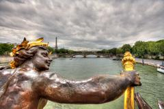 View on paris from alexander iii bridge. Stock Photos