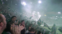 Timbers Flags Waving in Stadium Cheering Goal 3 (Jeld Wen Timbers PGE Providence Stock Footage