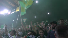 Timbers Flags Waving Stadium Cheering Goal 5 (Jeld Wen Timbers PGE Providence) Stock Footage
