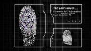 Stock Video Footage of Fingerprint Scan, analysis, and database search