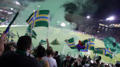 Timbers Flags Waving in Stadium Cheering Goal (Jeld Wen Timbers PGE Providence) Stock Footage