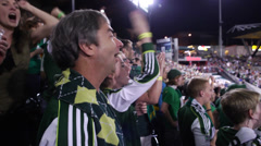 Timbers Fans in Stadium Cheering (Jeld Wen Timbers PGE Providence) Stock Footage