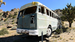 Abandon Bus in the Mojave Desert Stock Footage