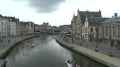River Leie in the Graslei area of Ghent (Gent), East Flanders, Belgium. Stock Footage