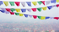 Prayer flags over Kathmandu, Nepal Stock Footage