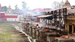 View of body cremation grounds, pashupatinath temple, kathmandu, nepal Stock Footage