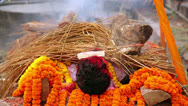 Stock Video Footage of death corpse burning fire, cremation ceremony, pashupatinath temple, kathmandu,