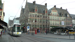 Tram passing through Sint-Veerleplein in Ghent (Gent), Belgium. Stock Footage