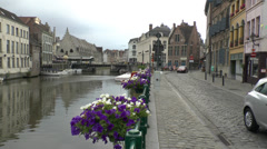 River Leie in Ghent (Gent), Belgium. Stock Footage
