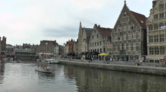The Graslei area of Ghent (Gent), East Flanders, Belgium. Stock Footage