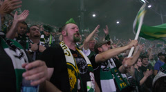 Timbers Fan Stadium Cheering Close up (Jeld-Wen, PGE Park, Timbers Providence) Stock Footage