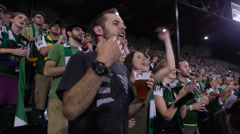 Timbers Fan Stadium Cheering Close up 2 (Jeld-Wen, PGE Park, Timbers, Providence Stock Footage