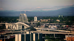 Fremont Bridge Portland, Oregon (Timelapse, city, downtown) - stock footage