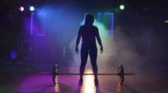 Weight Lifing in Fog and Lights Stock Footage