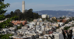 Ultra HD 4K Iconic Telegraph Hill Neighborhood San Francisco Skyline Cityscape Stock Footage