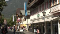 Garmisch-Partenkirchen, a view of the Am Kurpark Street in the summer, Bavaria, Stock Footage