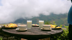 Organic delicious breakfast at himalayas mountain, nepal Stock Footage